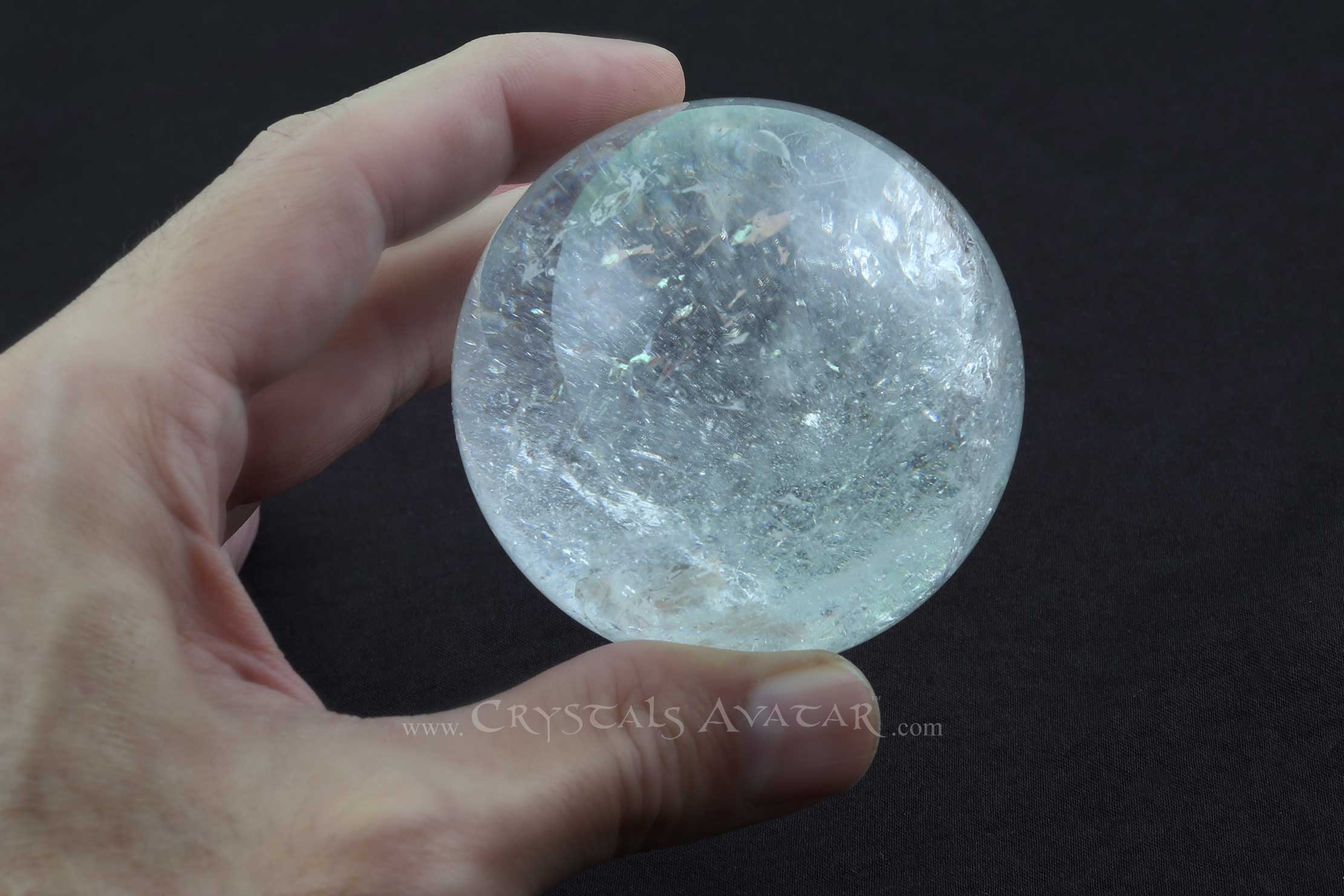 Clear Quartz Crystal Ball, Sphere, Psychic Tool, 70mm, Handheld